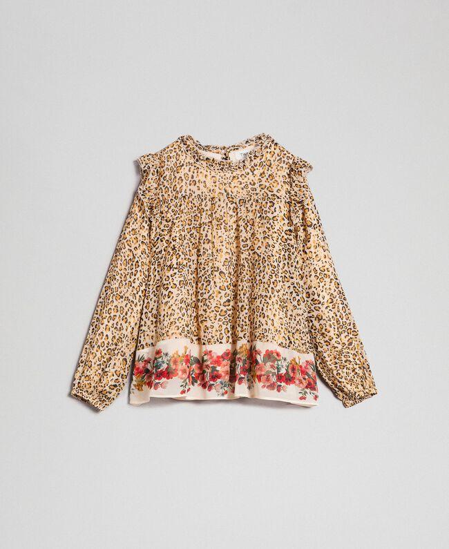 Blusa in georgette animalier e fiori Stampa Leopardo / Fiore Bambina 192GJ2571-0S