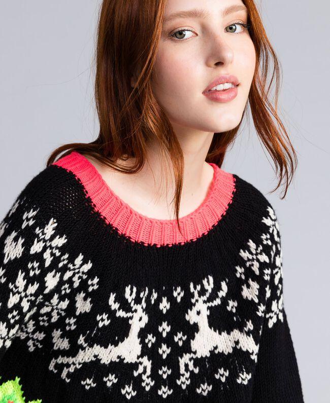 Jacquard-Pullover mit Logo Schwarz Frau QA8TLA-01