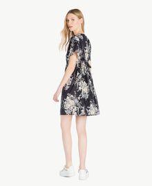 Kleid mit Print Blumenbouquetprint Schwarz Frau YS82PA-03