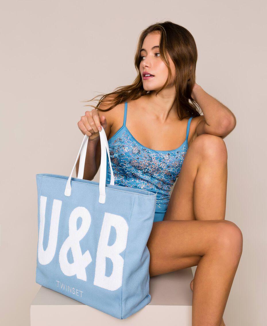 "Borsa mare con logo Blu ""Waterfall"" Donna 201LB79BB-0S"