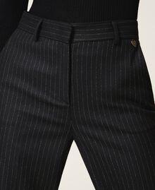 Pantalon ample en laine mélangée Rayé Noir / Or «Lurex» Femme 202TT2171-04