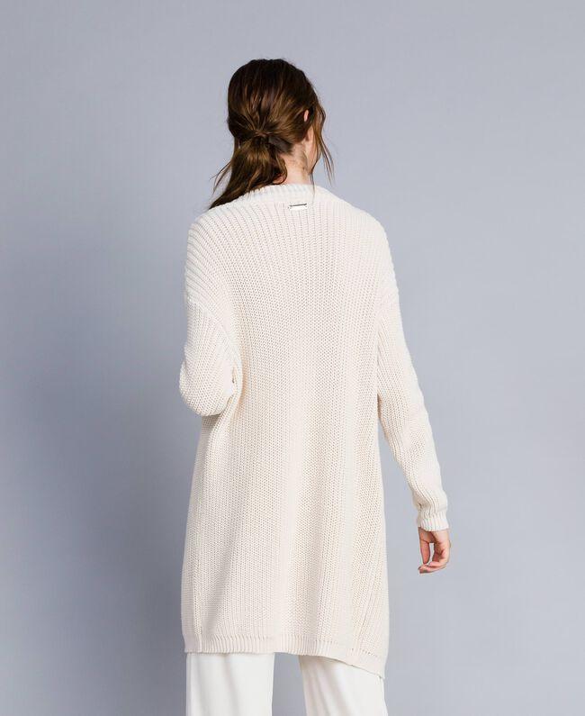 Maxi cardigan en coton et laine Blanc Femme IA87AA-03