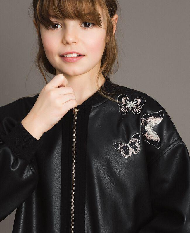 Blouson aviateur en similicuir avec papillons Noir Enfant 191GJ2260-04