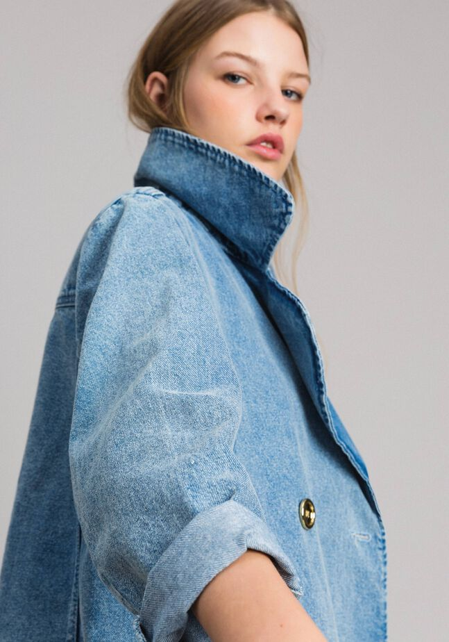 Denim pea jacket