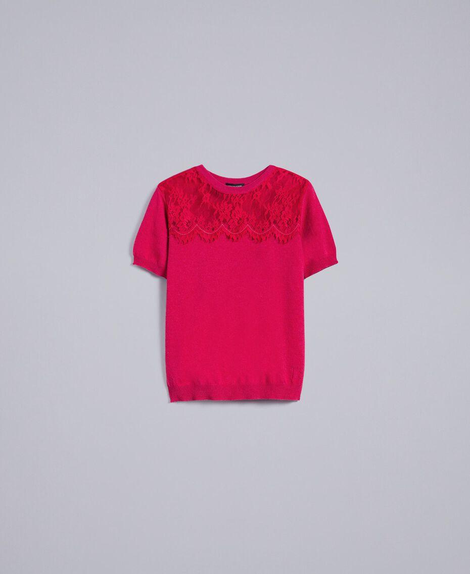 Pull en laine et cachemire avec dentelle Fuchsia Azalée Femme TA83AK-0S
