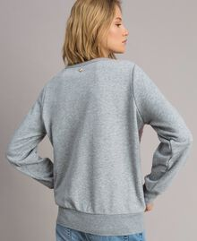 Sweat-shirt avec sequins dégradés Bicolore Mélange Gris Clair / Rose Hortensia Femme 191MP2073-03