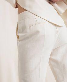 Pantalon cigarette en lin mélangé Blanc Neige Femme 201TP2256-04