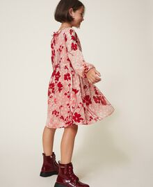 """Floral georgette dress Peach / """"Cherry"""" Red Flowers Animal Print Child 202GJ262A-03"""