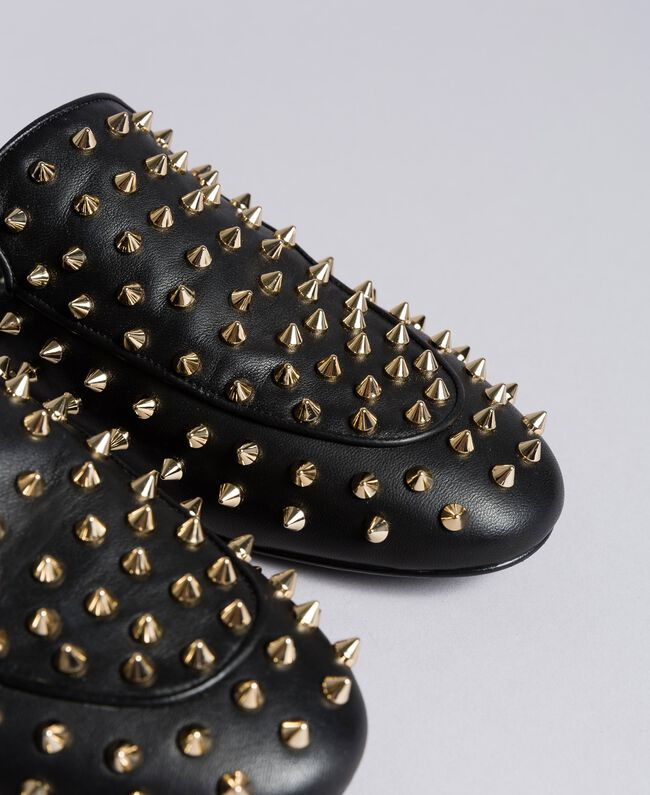 Leather studded mules Black Woman CA8TFG-04