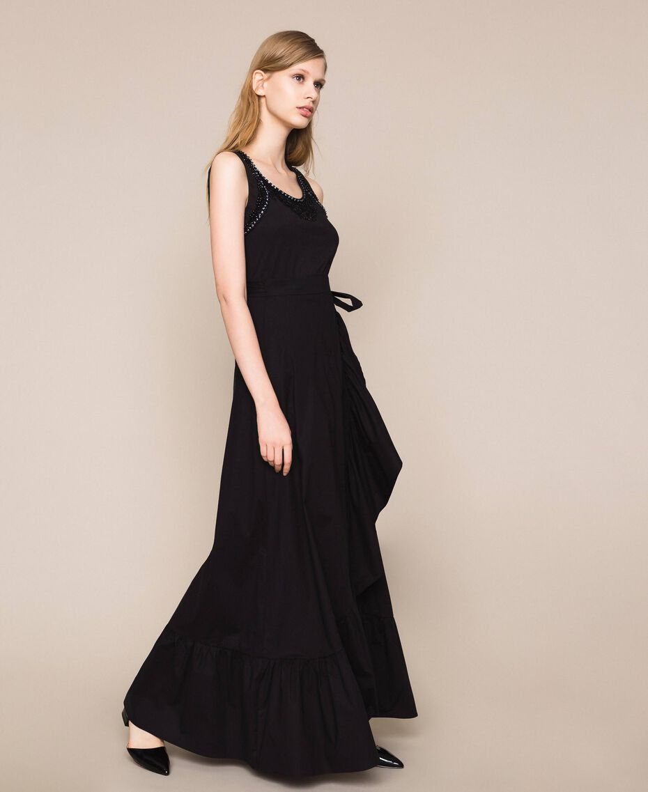 Long poplin skirt with ruffles Black Woman 201TT2036-02