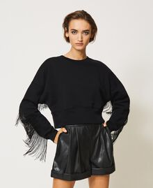 Cropped sweatshirt with fringes Creamy White Woman 202TP265F-04