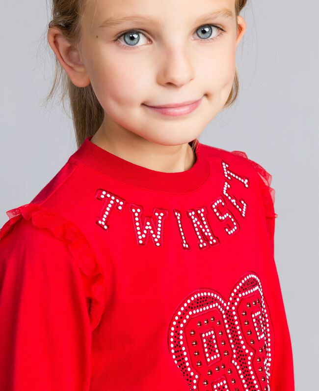 Jersey sweatshirt with pearls and tulle Poppy Red Child GA82U2-04