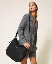 Technical satin hobo bag Black Woman 202TD8080-0S