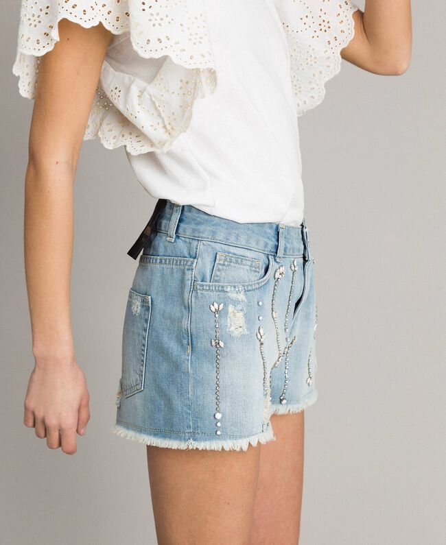 Destroyed jeans shorts with rhinestones and stones Denim Blue Woman 191MT2181-01
