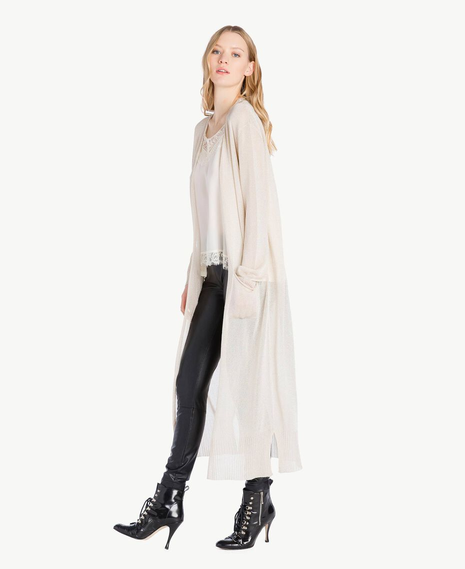 Long lurex cardigan Platinum Lurex Woman PS83ZD-02