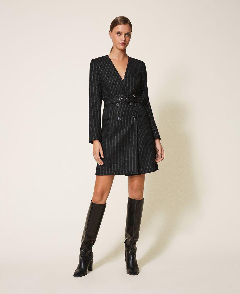 "Lurex pin striped dress with belt Black / ""Lurex"" Gold Pin Stripe Woman 202TT2176-01"