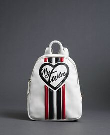 "Faux leather backpack with bands and logo ""Vanilla"" White/ ""Poppy"" Red Woman 192MO8051-03"