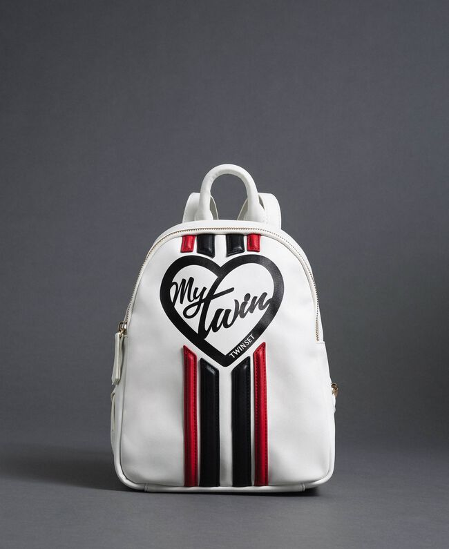 Sac à dos en similicuir avec bandes et logo Blanc «Vanille» / Rouge «Coquelicot» Femme 192MO8051-03