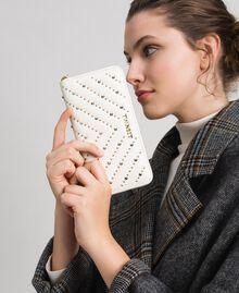 Portafoglio in pelle con borchie Bianco Papiro Donna 192TA7113-0S