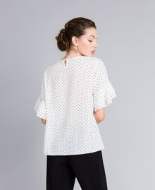 "Silk blouse with micro hearts ""Snow"" White / Black Heart Print Woman PA82N3-04"