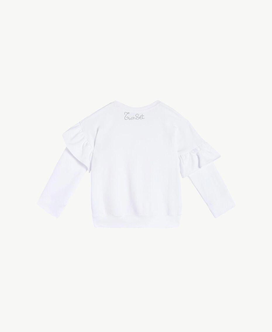 "Maxi sweatshirt with rhinestones ""Papers"" White Child FS823B-02"