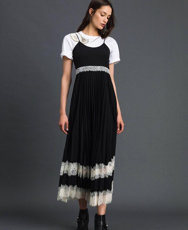Robe nuisette avec dentelle Bicolore Noir / Blanc Neige Femme 192TP2282-01