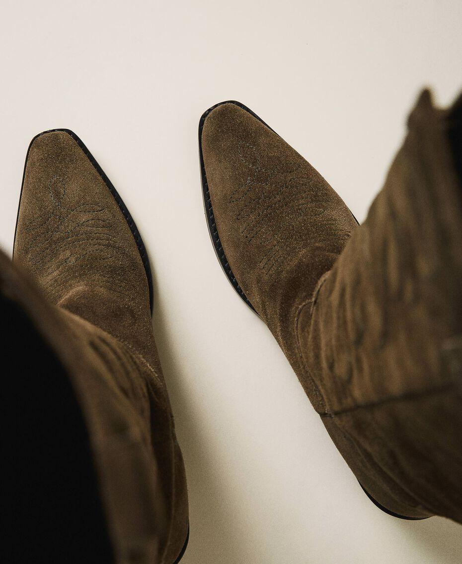 Stivali texani in pelle scamosciata Dark Olive Green Donna 202TCP160-03