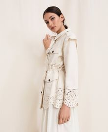 "Canvas jacket with broderie anglaise ""Dune"" Beige Woman 201TP2011-04"