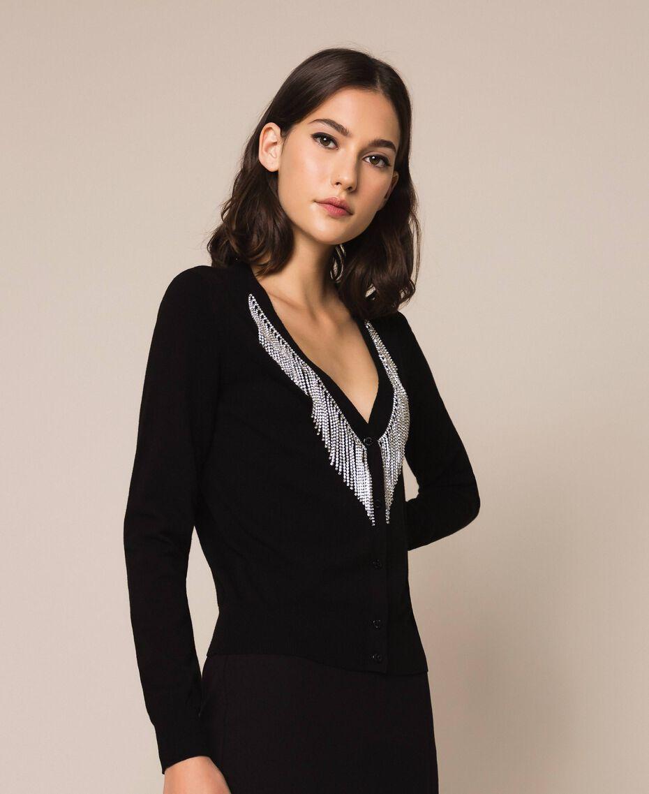 Cardigan décoré de franges en strass Noir Femme 201TP3083-02