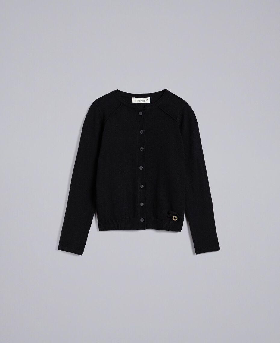 Mandarin collar cardigan Black Child GCN3AB-0S