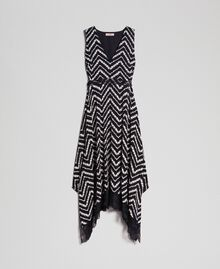 "Floral and chevron print long dress Black / ""Snow"" Chevron Print Woman 192TP2526-0S"