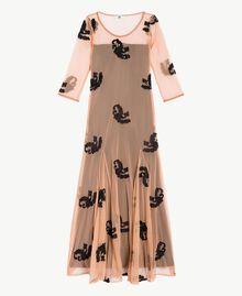 Long embroidered dress Black Woman MS8BJJ-01