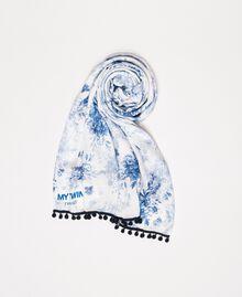 Étole imprimée de bouquets fleuris Imprimé Fleurs Blanc Optique / Bleu «Indigo» Femme 201MO5301-01