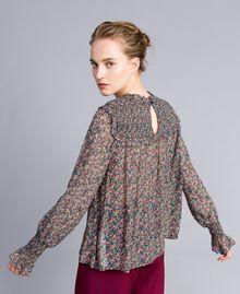Blusa in georgette a stampa floreale Stampa Microfiore Multicolor Donna PA82MB-03
