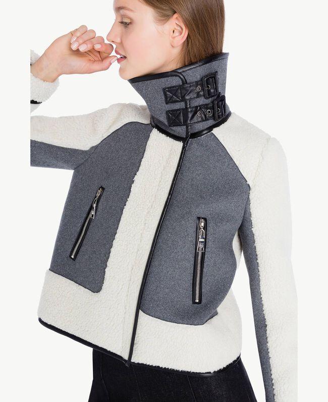 Veste faux mouton Gris Mélangé YA72A2-04