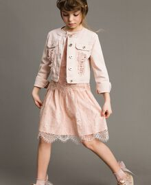 Bull stretch jacket with lace Blossom Pink Child 191GJ2062-02