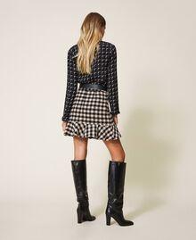 Minifalda en bouclé de cuadros con volante Bicolor Negro / Nude Mujer 202ST2153-03