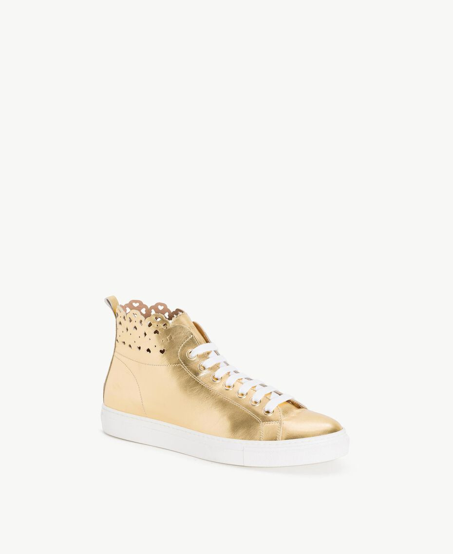 TWINSET Scalloped sneakers Gold Yellow Woman CS8TFW-02
