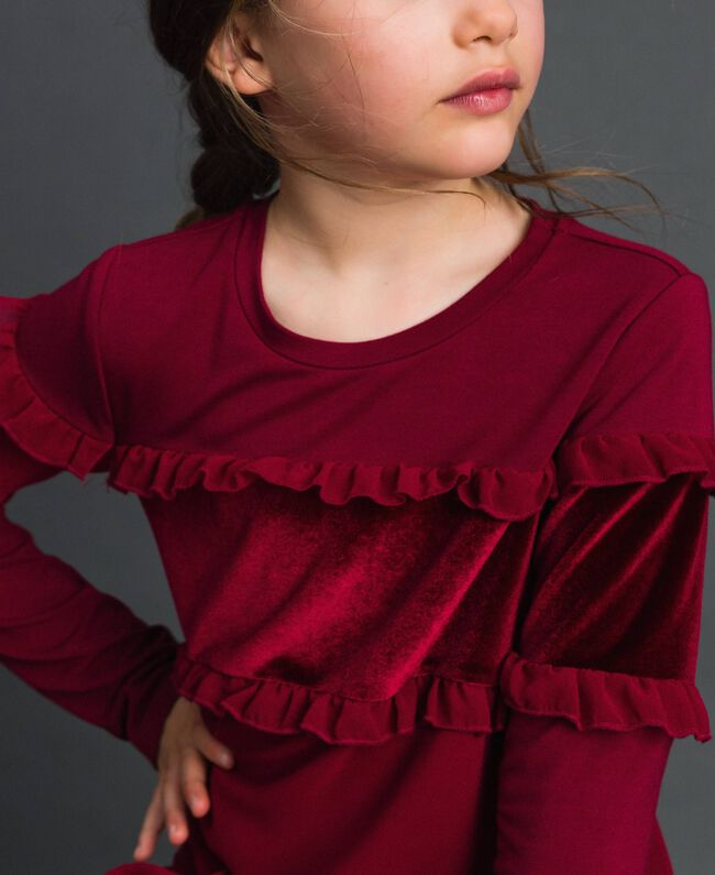 Dress with velvet inlay and frill Ruby Wine Red Child 192GJ2463-04