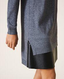 Vestido de punto con combinación Gris Mélange Medio Mujer 202ST3221-04