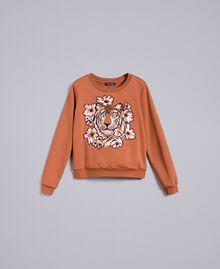 Sweatshirt aus Baumwolle mit Stickerei Erdbraun Frau TA82ZA-0S