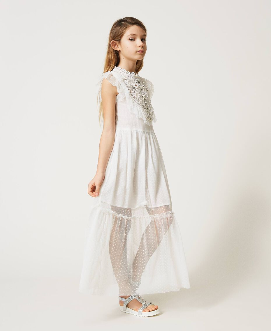 Tulle and muslin dress with embroidery Off White Child 211GJ2Q3B-02