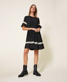 Pleated dress with lace Black Woman 202TP2130-01
