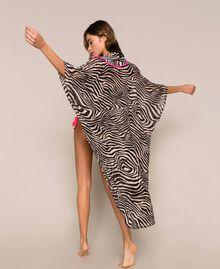 Animal print georgette kaftan Black Zebra Print Woman 201LB2GFF-01