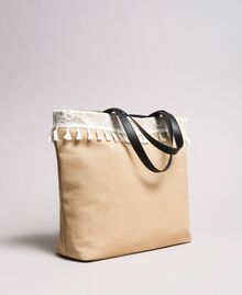 "Beach bag with lace and mini tassels ""Milkway"" Beige Woman 191LB4ZLL-01"