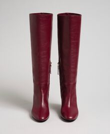 Leather high boots Beet Red Woman 192TCP100-04