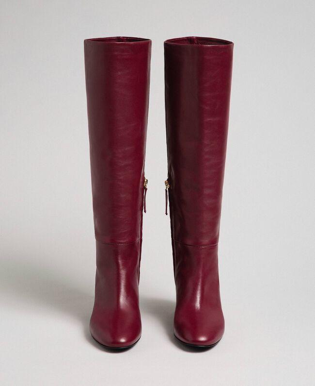 Bottes à talon en cuir Rouge Betterave Femme 192TCP100-04