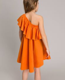 "Robe épaule dénudée en popeline stretch ""Orange Estivale"" Enfant 191GJ2290-03"