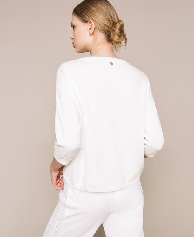 Jumper with stitching and frills White Woman 201ST3063-04