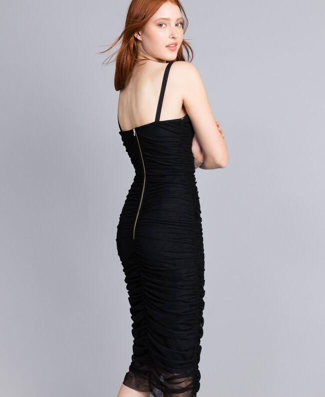 Robe fourreau en tulle Noir Femme QA8TH1-03